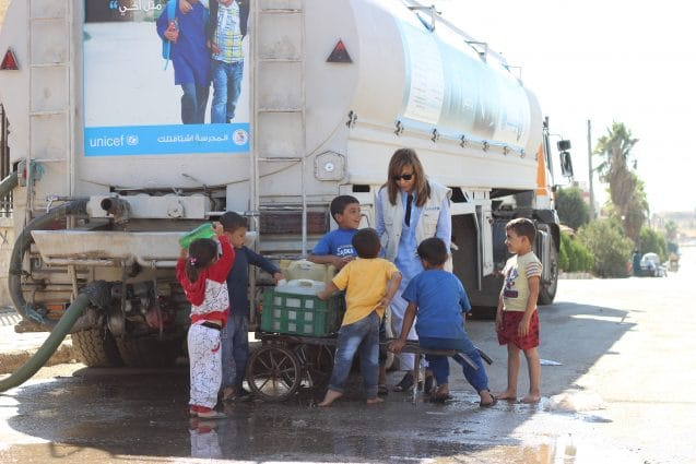 "On 29 September 2016 in western Aleppo, UNICEF Representative in the Syrian Arab Republic Hanaa Singer visited UNICEF health and water and sanitation partners, and met with families displaced by recent attacks and fighting. She also visited the Adeeb Zakkour and Reyad Sajee schools in the area. ""The murder of the innocents in Aleppo must stop,"" stated UNICEF Executive Director Anthony Lake in New York on 29 September 2016. Mr. Lake enumerated: ""In Aleppo, 96 children killed and 223 children injured in merciless attacks this week alone. Each one, a daughter or a son. Doctors forced to let some children die while saving others with scarce medical supplies. Tens of thousands of children drinking dirty water because a pumping station was bombed and another switched off. Brave aid and rescue workers killed. Aid convoys destroyed,"" he continued. ""The world is watching these horrors unfold. Every day, they continue ... and get worse. UNICEF and our partners have just delivered some supplies to the besieged areas of Madaya, Fouah, Kefraya and Zabadani. In addition to continuing operations in western Aleppo, we are doing what we can to provide trucked water supplies throughout the city. But it is far from enough. The only real answer for Aleppo is an end to its descent into further horror."""